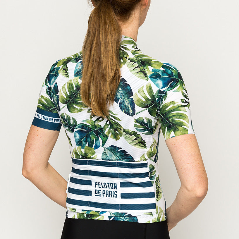 Tropical Leafs Domestique Short Sleeve Jersey Women: L