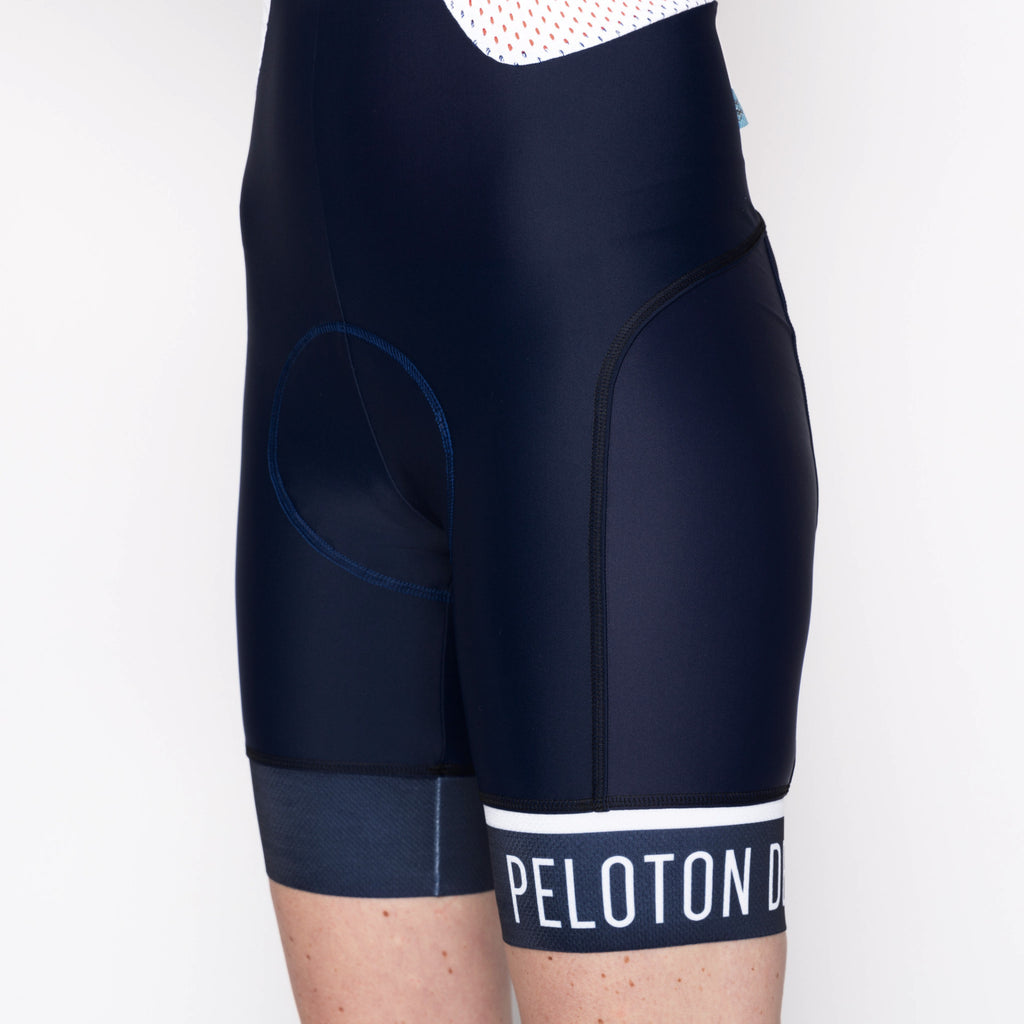 Classic Stripe Navy Women's Bib - Peloton de Paris - Bibshorts - 1
