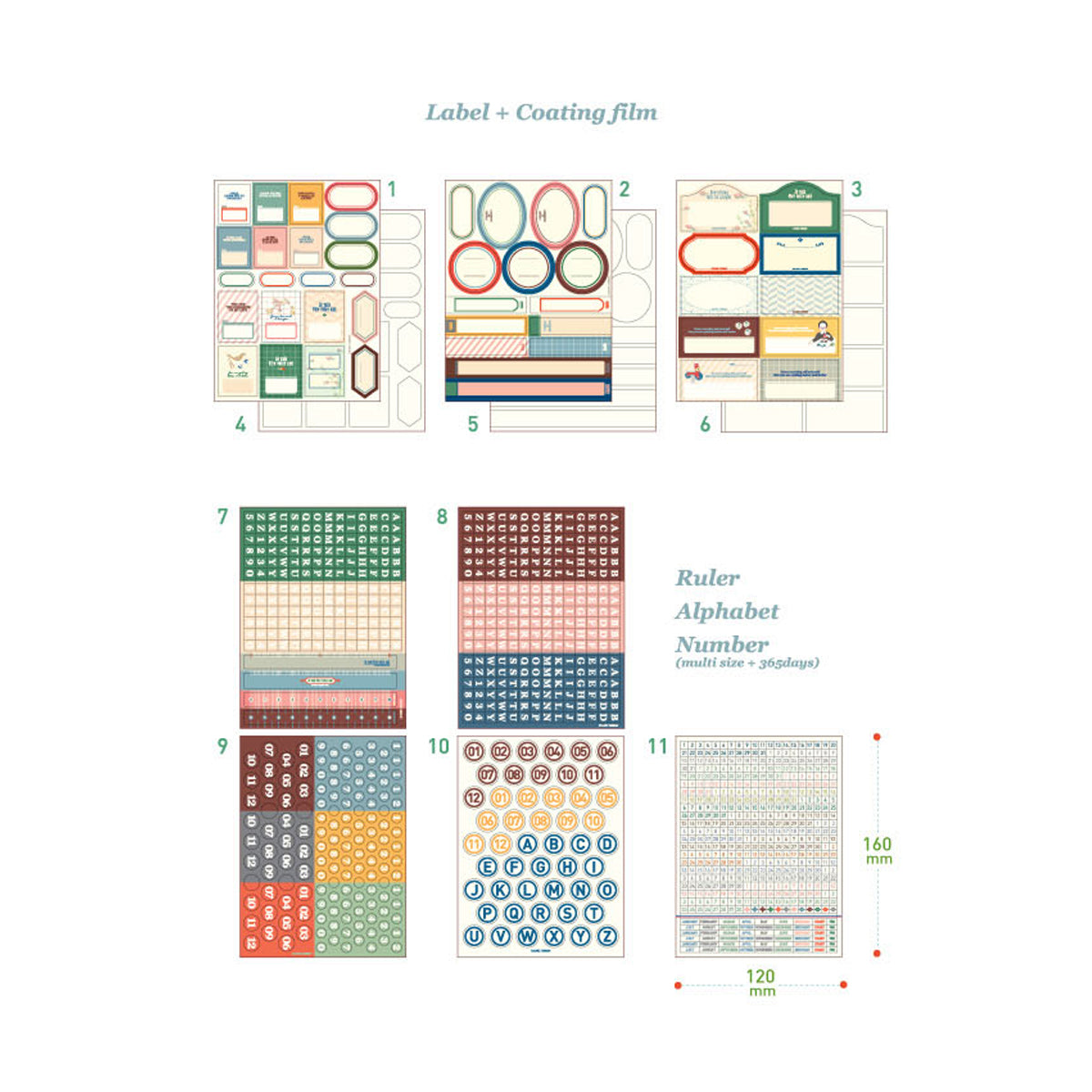 sticker labeling pack 8 pieces