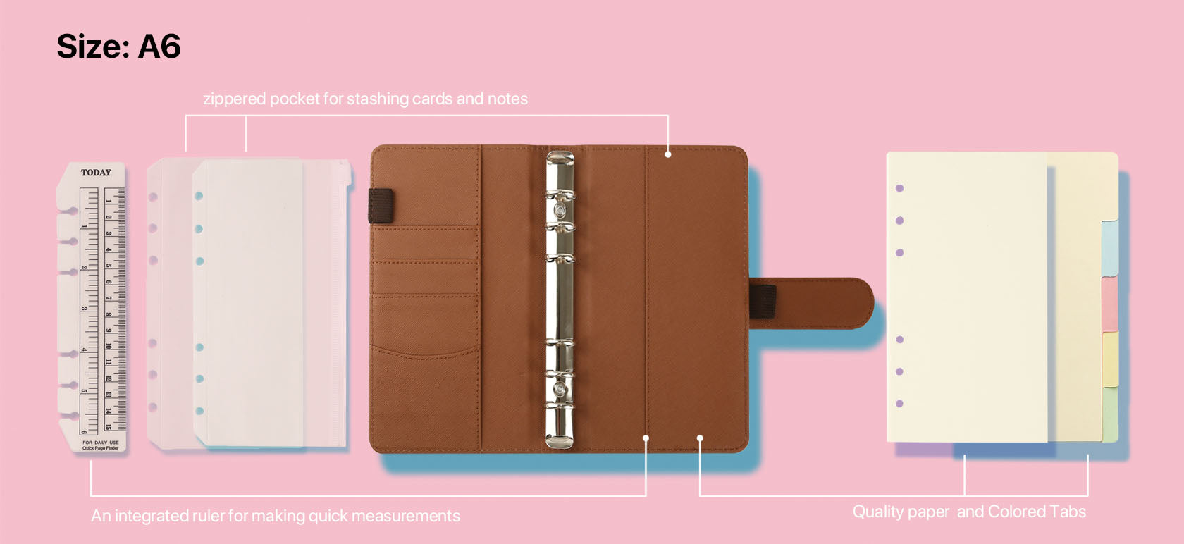 size a6 personal organizers filofax style specification - 180 plain pages of quality paper - Tabbed pages with different colored tabs to keep your notes clearly sectioned - Multiple card slots plus a transparent photo slot - A zippered pocket for stashing cards and notes - 1 large pocket on the back for storing loose papers and receipts - An integrated ruler for making quick measurements - 2 pen loops to keep your favorite writing tools handy - Sturdy binding with ring clasps to hold all pages neatly together - Front tab closure to keep your organizer fastened shut