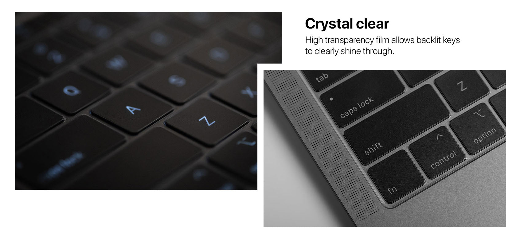 crystal clear High transparency film allows backlit keys to clearly shine through.