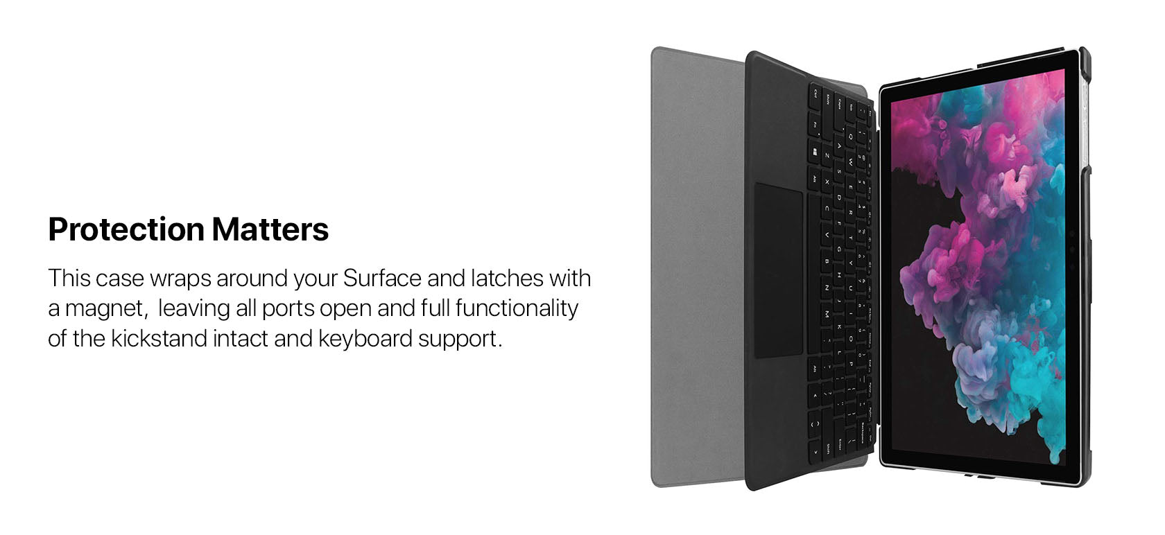 Protection Matters - This case wraps around your Surface and latches with a magnet,  leaving all ports open and full functionality of the kickstand intact and keyboard support.