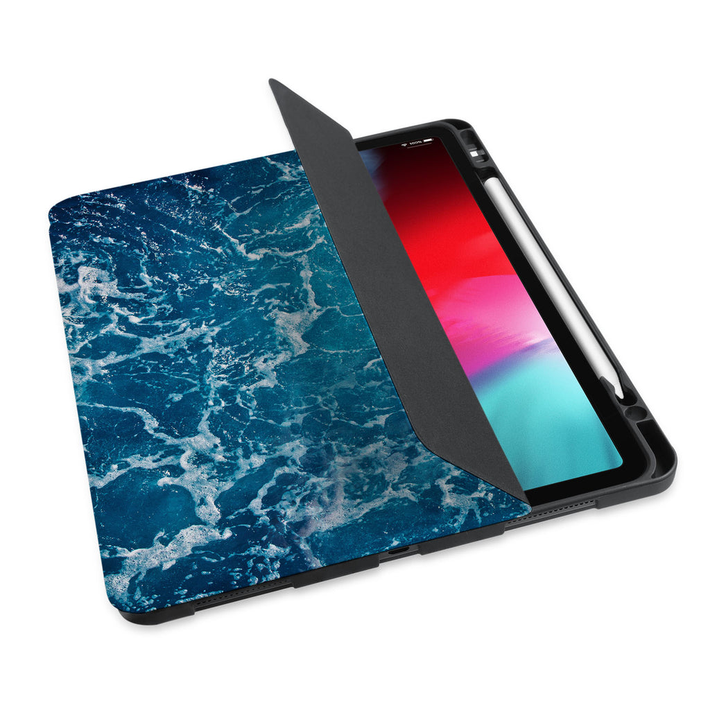 personalized iPad case with pencil holder and Ocean design - swap