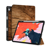 front back and stand view of personalized iPad case with pencil holder and Wood design