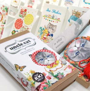 Kitty Stickers Bookmarks and Greeting Cards Set