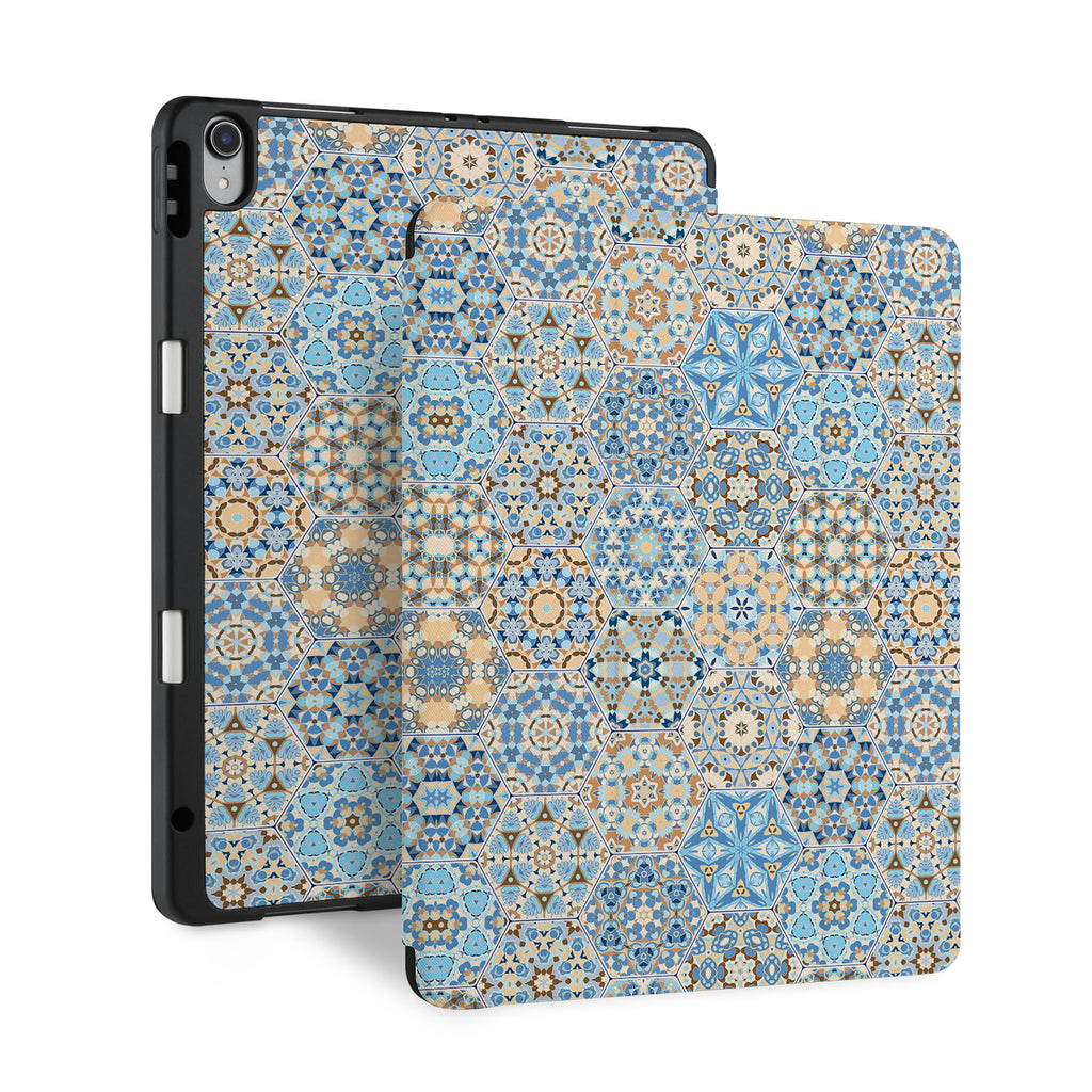 front and back view of personalized iPad case with pencil holder and Zen design