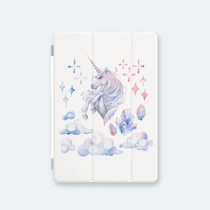 front view personalized iPad case smart cover with pastel ombre unicorn design