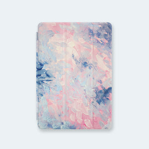 front view personalized iPad case smart cover with pastel brush strokes design