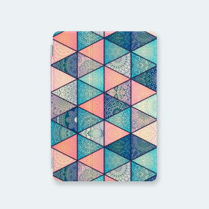 front view personalized iPad case smart cover with geometric mandala design