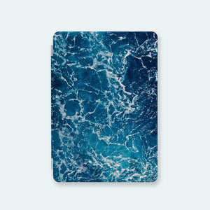 front view personalized iPad case smart cover with ocean waves design