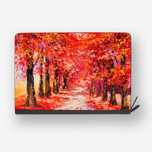 front view of personalized Macbook carry bag case with a forest in fall design
