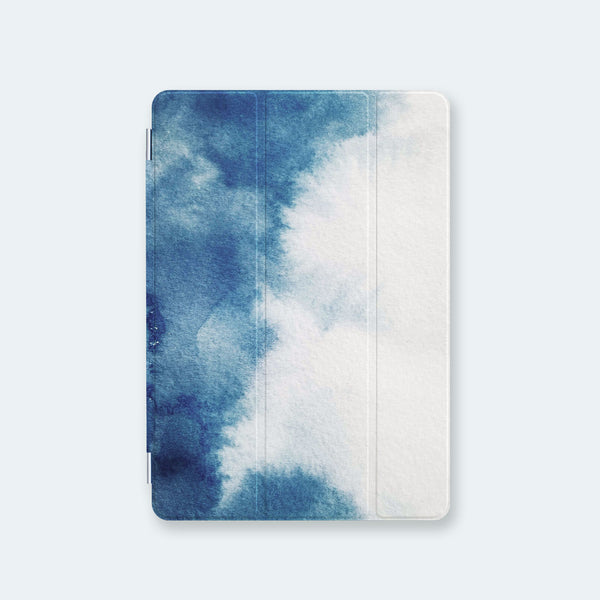 front view personalized iPad case smart cover with ombre clouds design