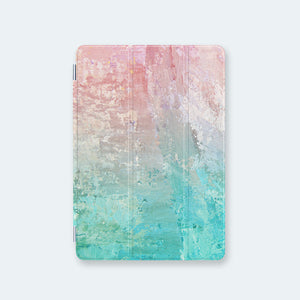 front view personalized iPad case smart cover with pastel ombre watercolor design