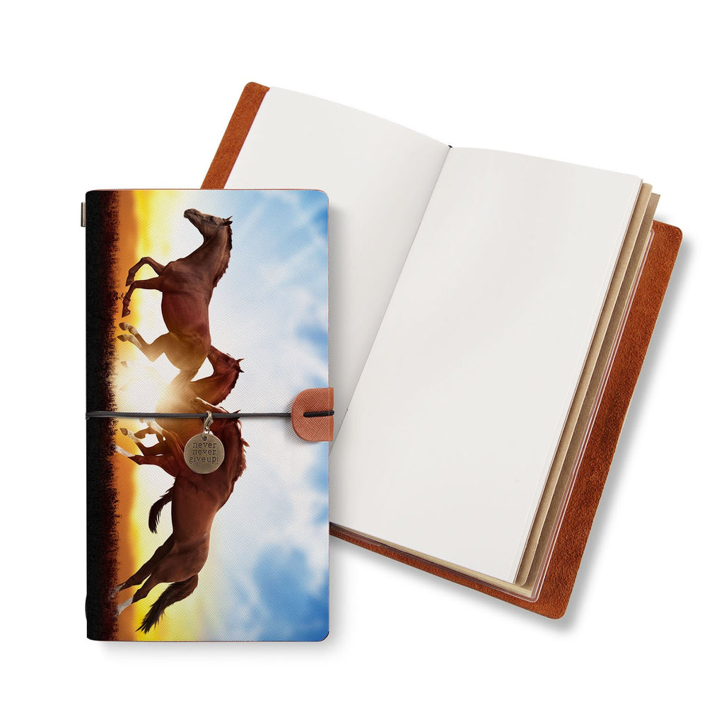 opened midori style traveler's notebook with Horse design
