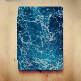 personalized iPad case smart cover with ocean waves design on the wooden desk