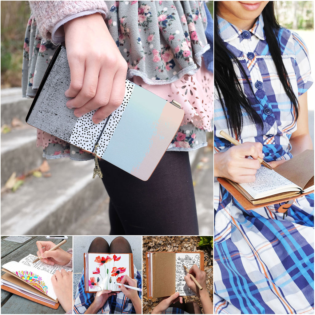 a young girl holding midori style traveler's notebook with scandi spots and stripes design