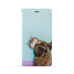 Front Side of Personalized Huawei Wallet Case with Cat design