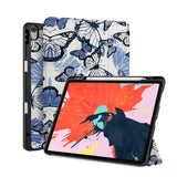 front back and stand view of personalized iPad case with pencil holder and Butterfly design