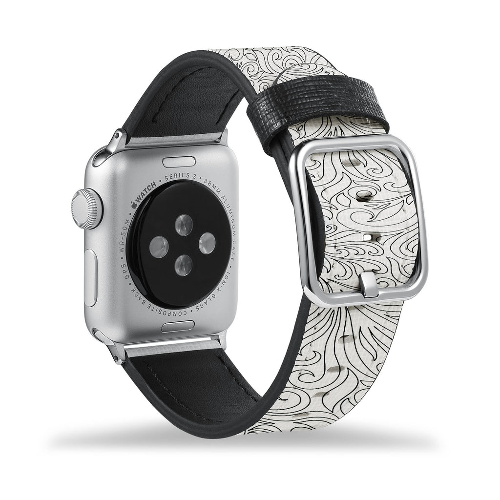 Printed Leather Apple Watch Band with Tiny Flowers Pattern design Like all Apple Watch bands, you can match this band with any Apple Watch case of the same size