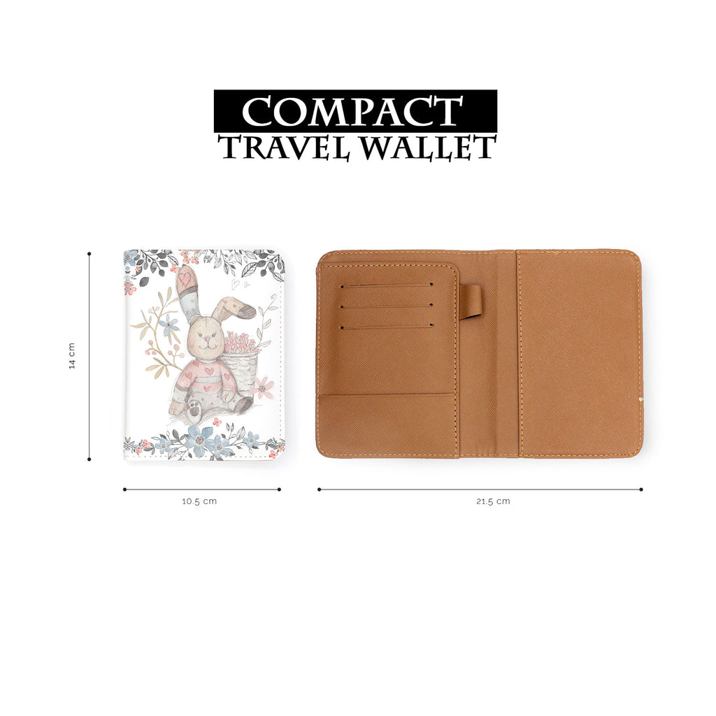 compact size of personalized RFID blocking passport travel wallet with Fairy Rabbits design