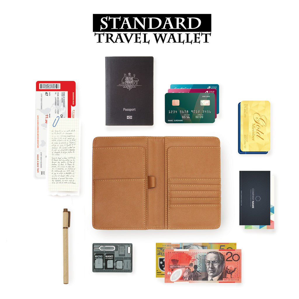how to use standard size personalized RFID blocking passport travel wallet with adventure awaits design