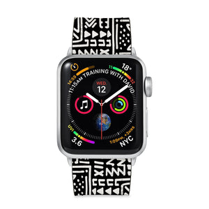 Our Printed Leather Apple Watch Band with Aztec Tribal design are made of water- and scratch-resistant saffiano leather because we know you wear your apple watch every, single, day. - swap