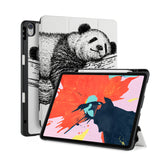 front back and stand view of personalized iPad case with pencil holder and Panda design