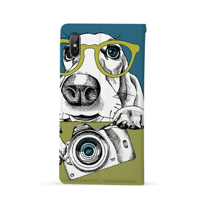 Back Side of Personalized iPhone Wallet Case with Dog design - swap