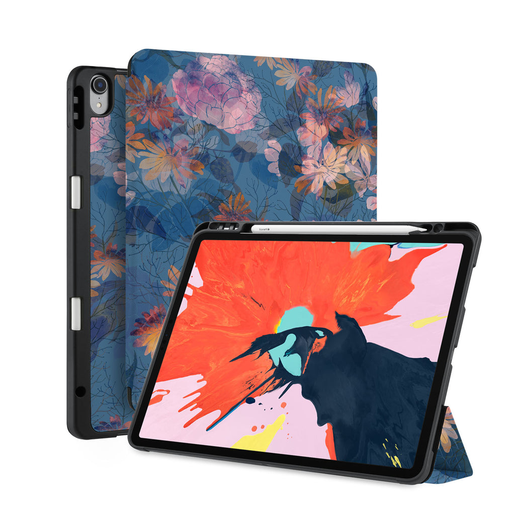 front back and stand view of personalized iPad case with pencil holder and Psychedelic design