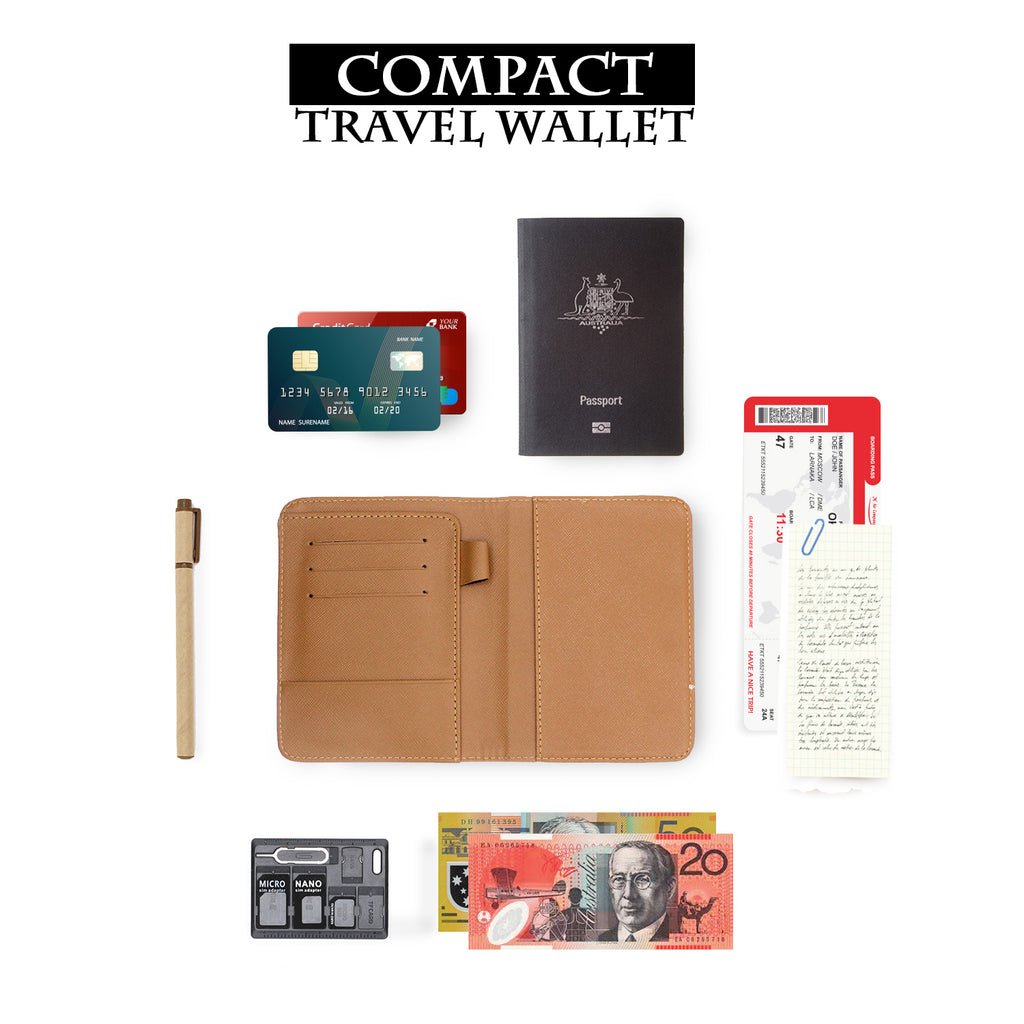 how to use compact size personalized RFID blocking passport travel wallet with adventure awaits design