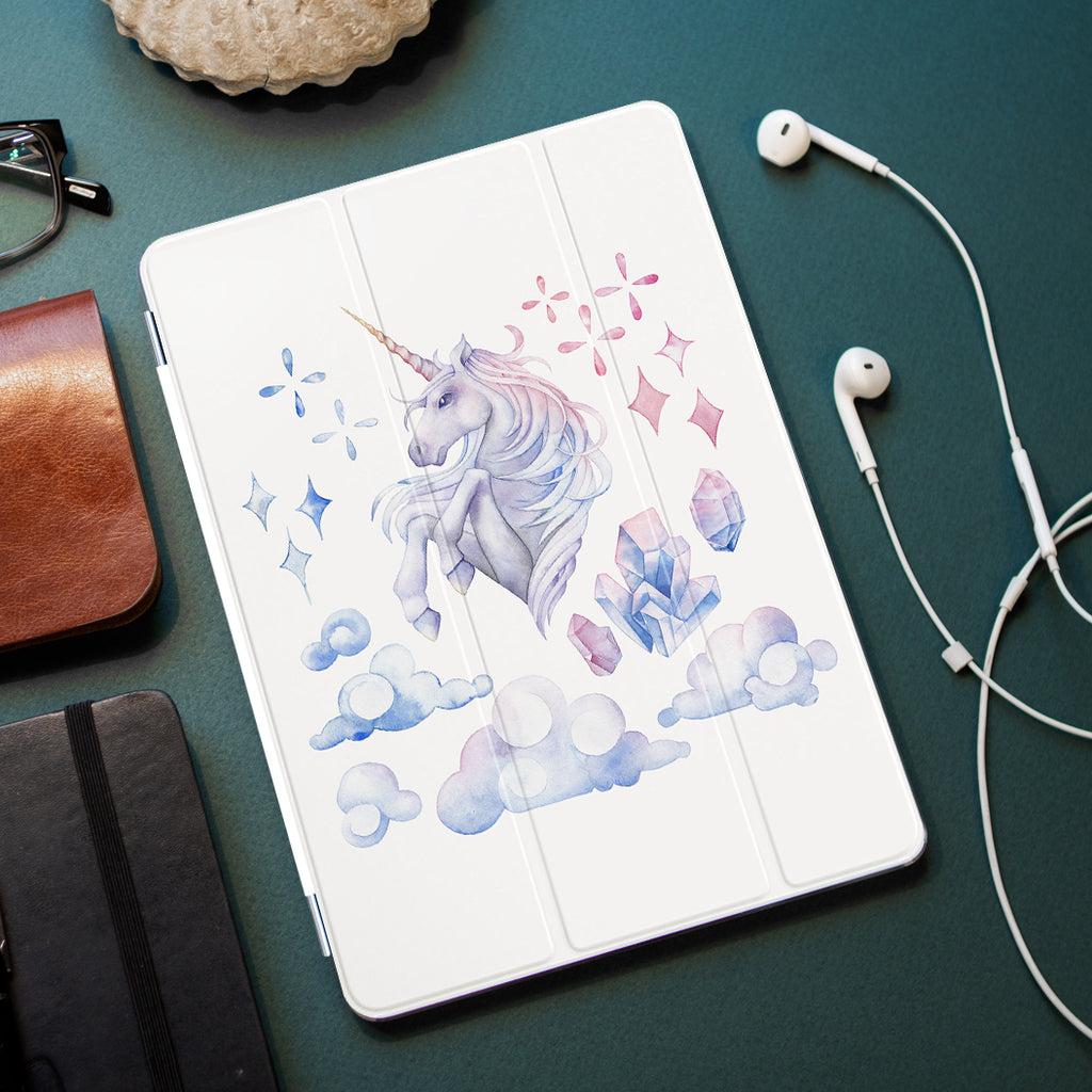 personalized iPad case smart cover with pastel ombre unicorn design on the office desk