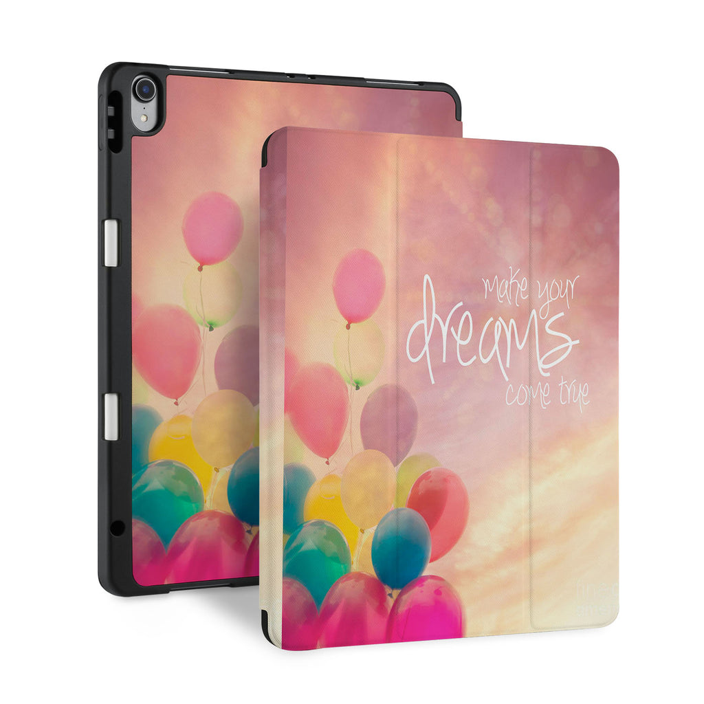 front and back view of personalized iPad case with pencil holder and Motivational design