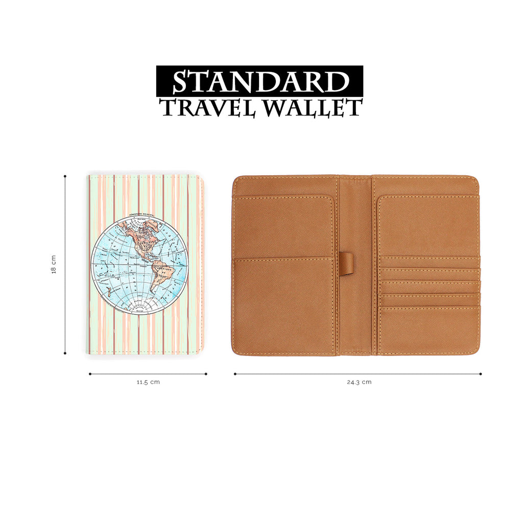 standard size of personalized RFID blocking passport travel wallet with adventure awaits design