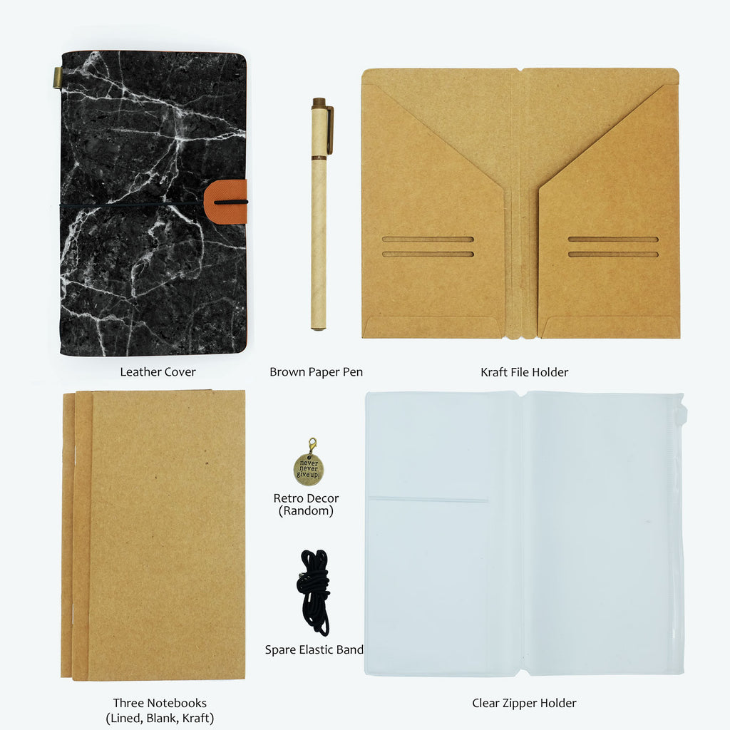 the package contents of midori style traveler's notebook moody marble design with accessories
