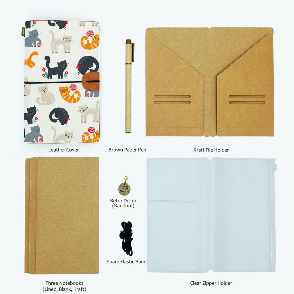 the package contents of midori style traveler's notebook playful pussycats design with accessories