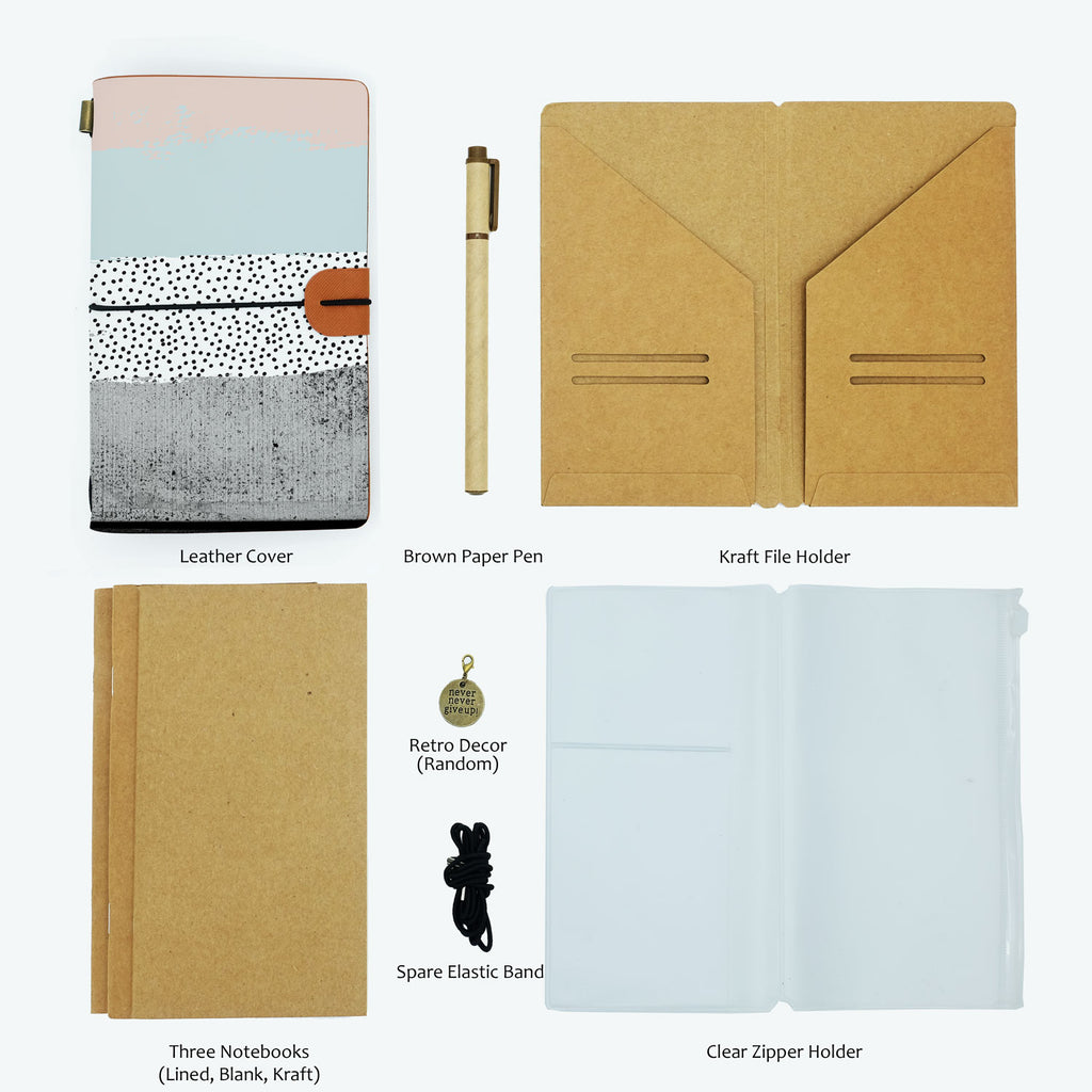 the package contents of midori style traveler's notebook scandi spots and stripes design with accessories