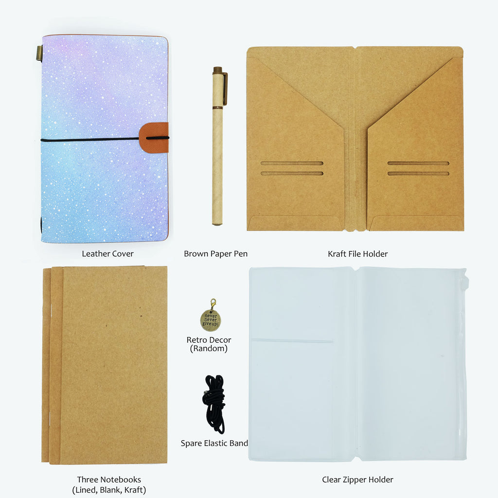 the package contents of midori style traveler's notebook ombre pastel galaxy design with accessories