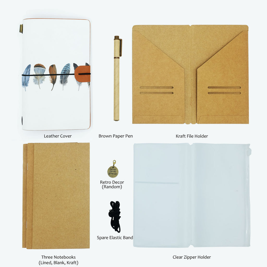 the package contents of midori style traveler's notebook boho feathers design with accessories