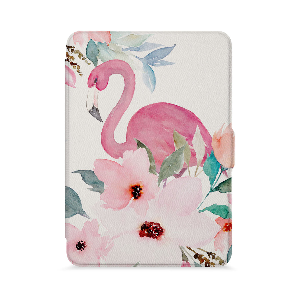 front view of personalized kindle paperwhite case with Flamingo design - swap