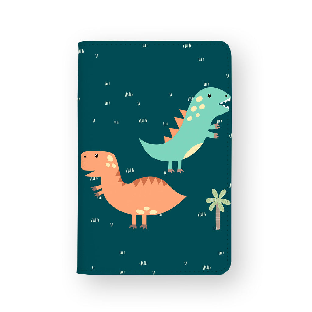 front view of personalized RFID blocking passport travel wallet with Dino Party design