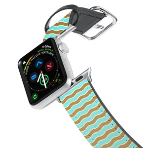Printed Leather Apple Watch Band with Vertical Pattern design. Designed for Apple Watch Series 4,Works with all previous versions of Apple Watch.