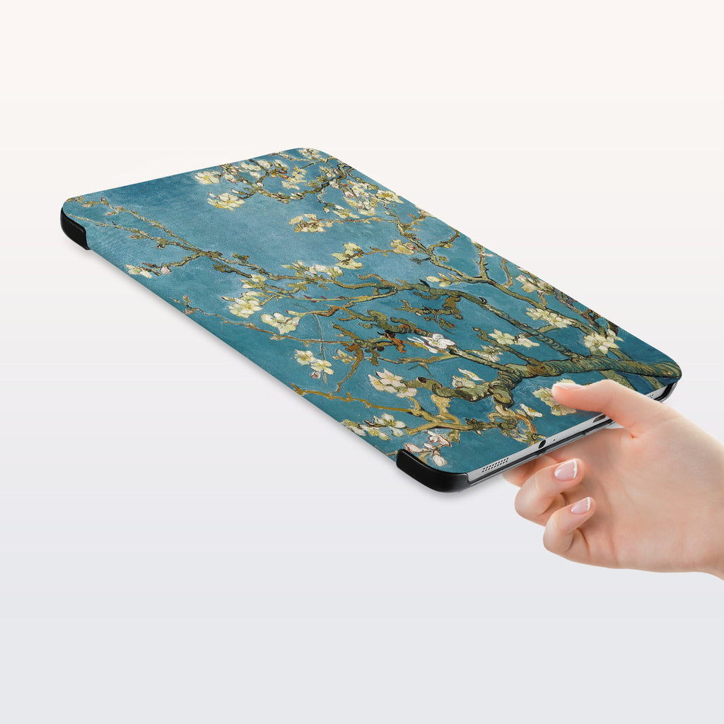 a hand is holding the Personalized Samsung Galaxy Tab Case with Oil Painting design