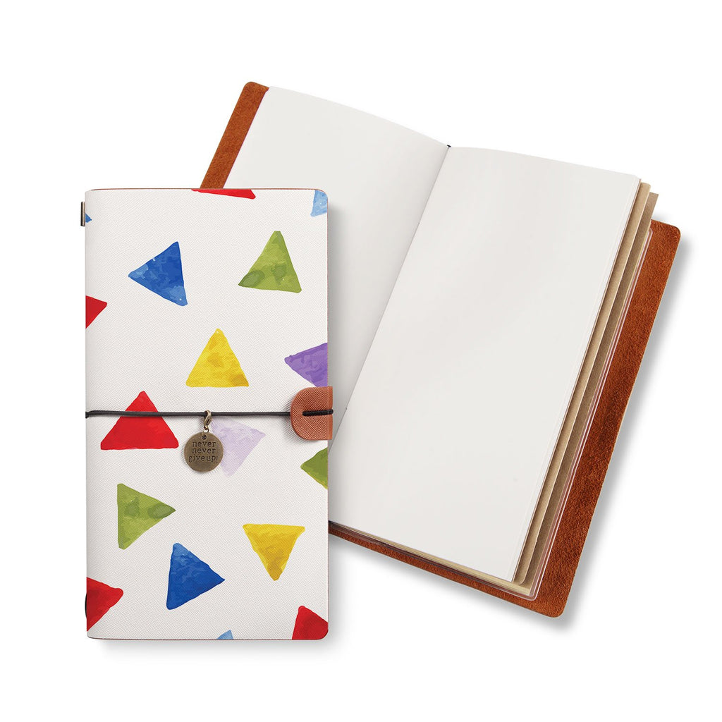 opened midori style traveler's notebook with Geometry Pattern design
