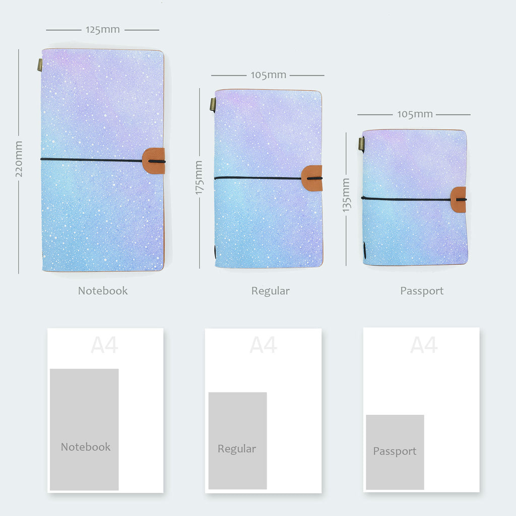comparison of the three sizes midori style traveler's notebook with ombre pastel galaxy design