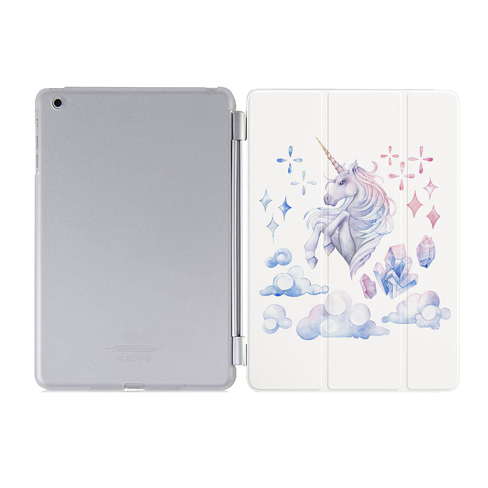 free hard back case cover with personalized iPad case smart cover with pastel ombre unicorn design