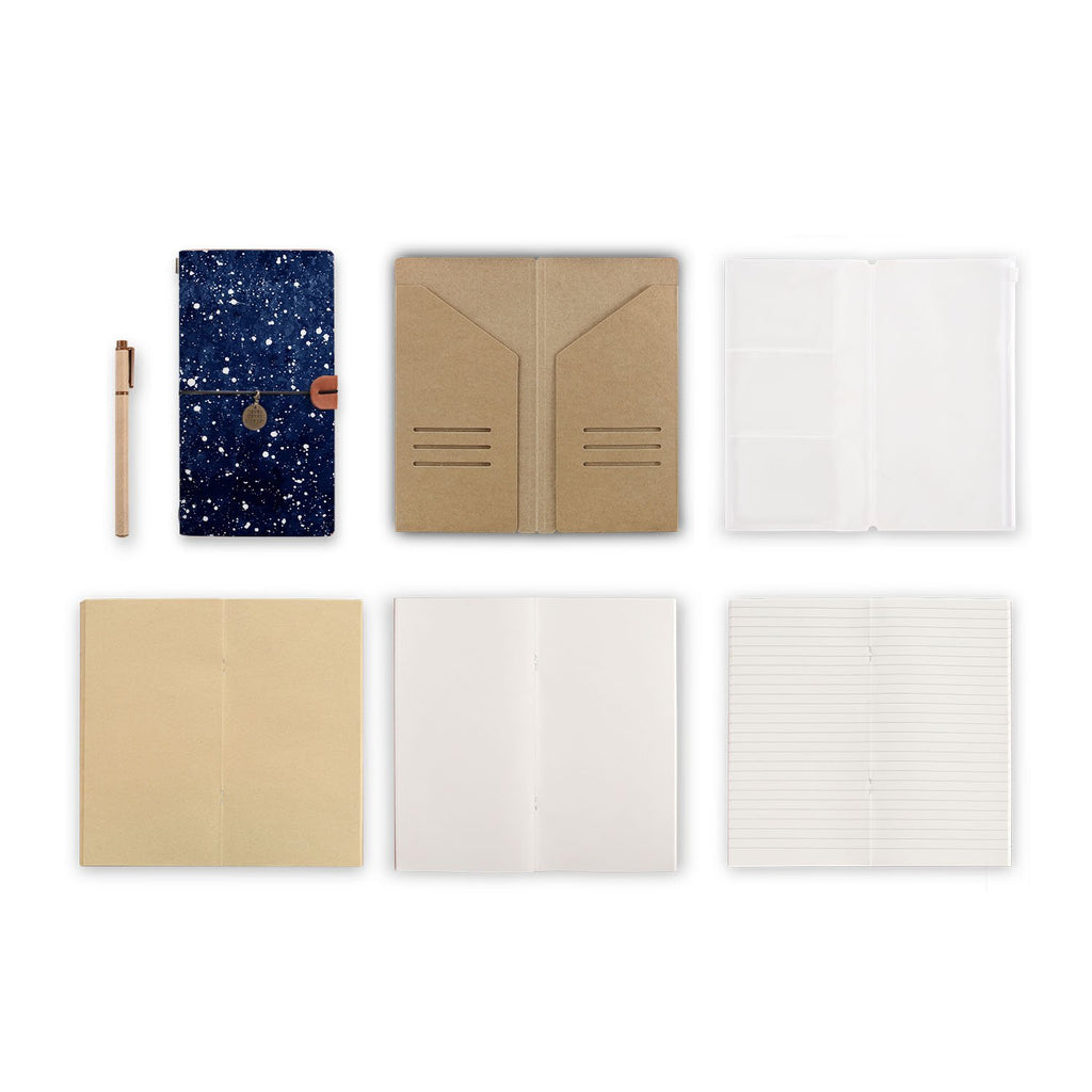 midori style traveler's notebook with Galaxy Universe design, refills and accessories
