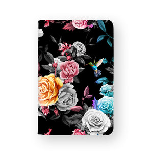 front view of personalized RFID blocking passport travel wallet with Black Flower design