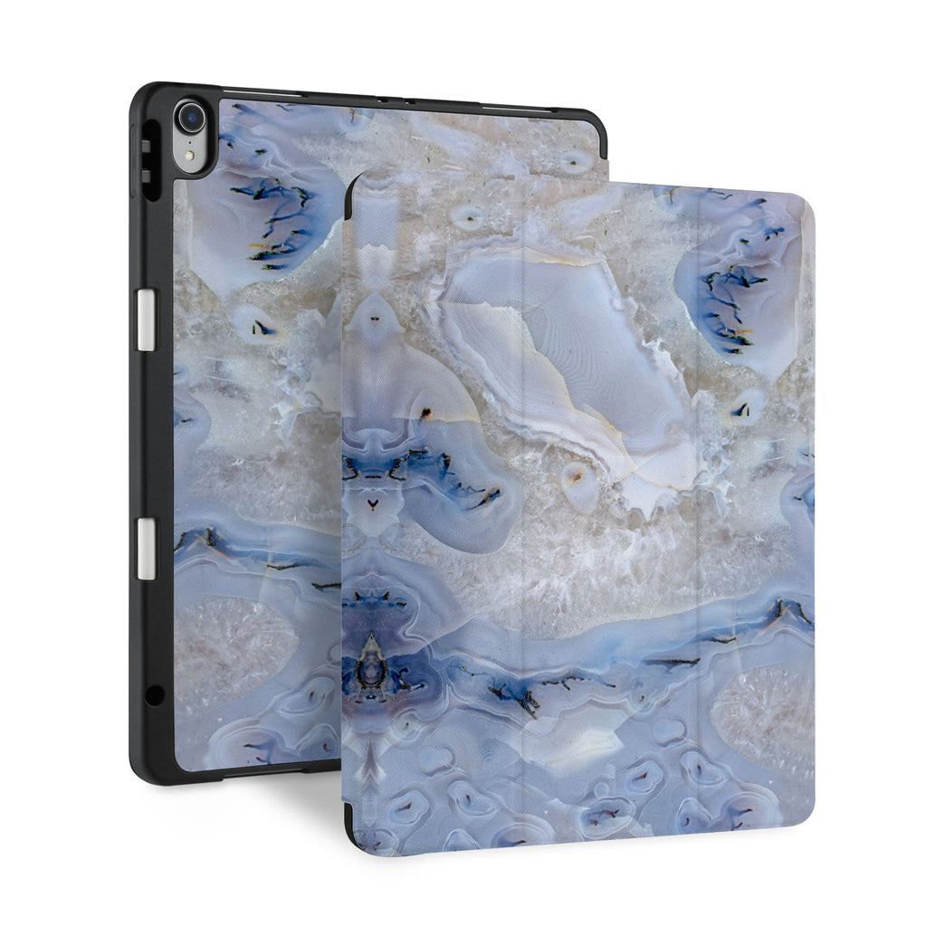 front and back view of personalized iPad case with pencil holder and Gemstone design