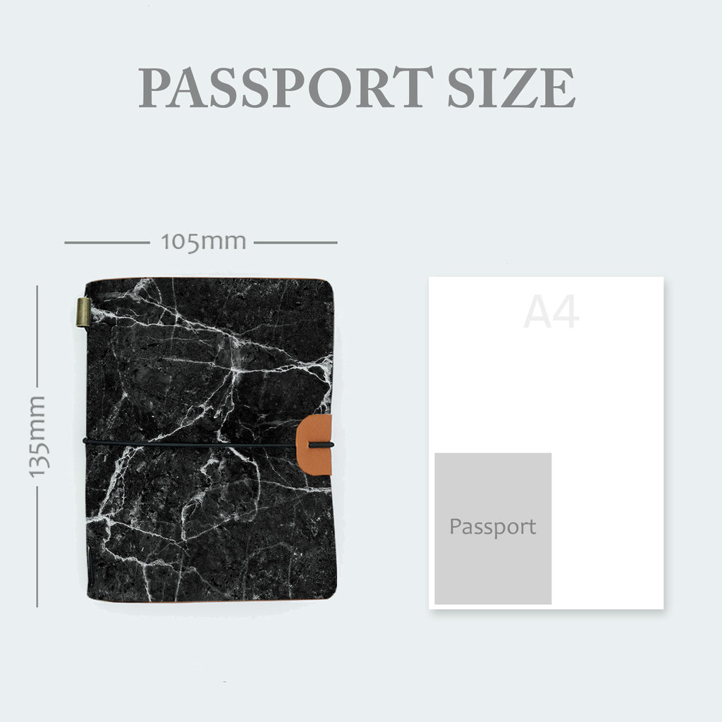 midori style traveler's notebook with moody marble design in passport size 135mm x 105mm