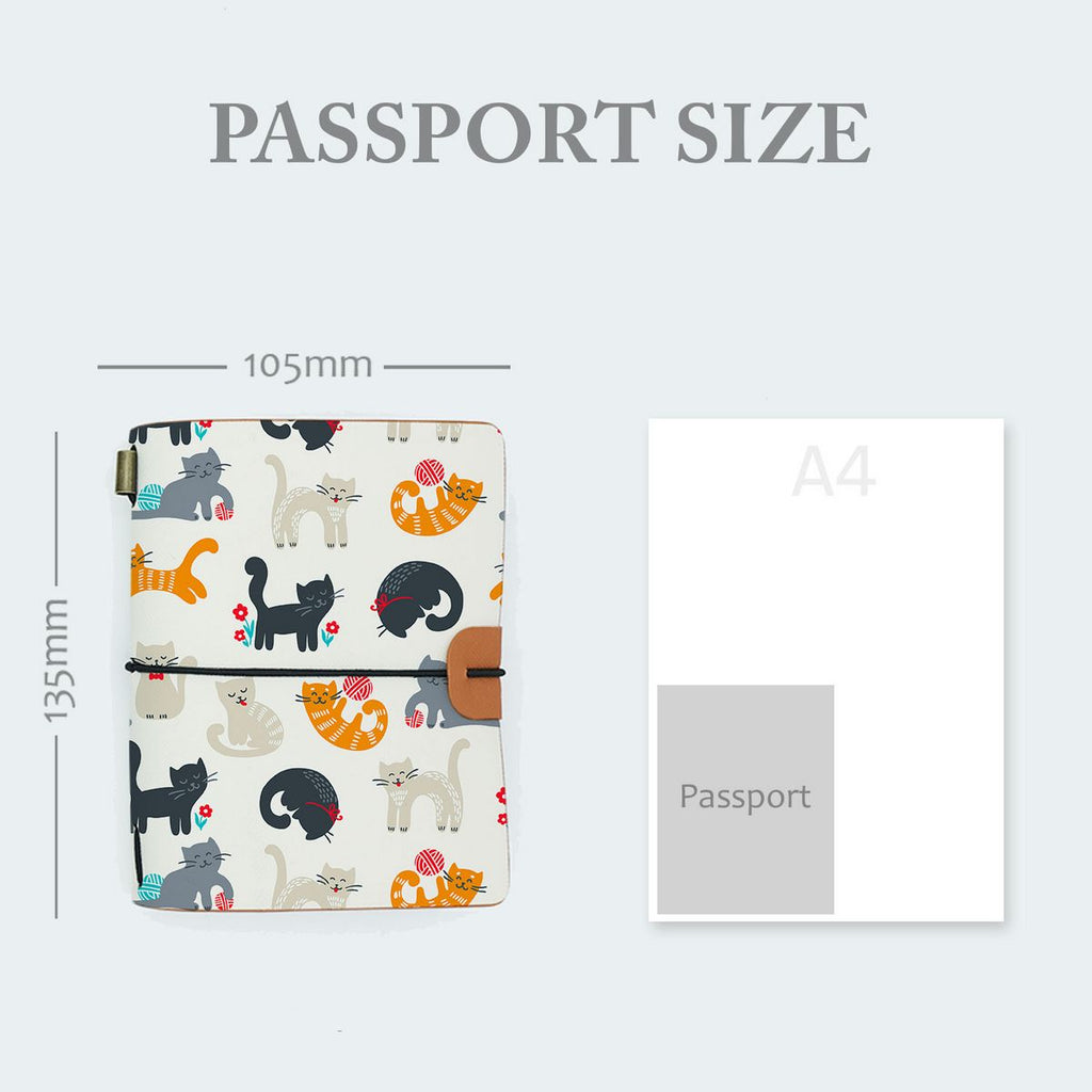midori style traveler's notebook with playful pussycats design in passport size 135mm x 105mm